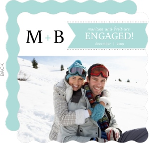 Light Blue Banner With Monogram Engagement Announcement