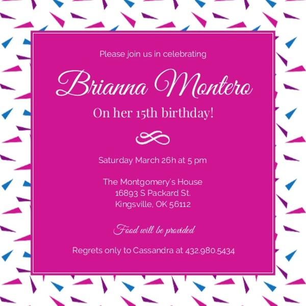 Hot Pink 15th Birthday Invitation Birthday Party