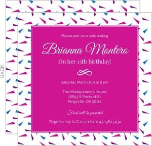 Hot Pink 15th Birthday Invitation Birthday Party