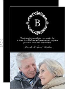Black Monogram Anniversary Thank You Card