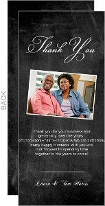 Chalkboard Then and Now Photo Anniversary Thank You Card