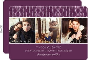 Purple Willow Leaf Pattern Save the Date