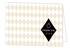 Tan Diamond Pattern Anniversary Thank You Card