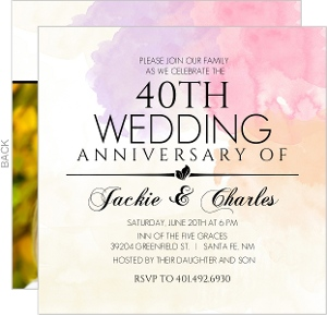 Watercolor Canvas 40th Anniversary Invitation