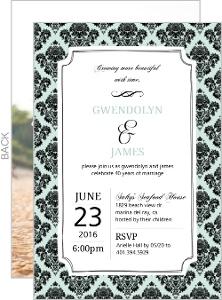 Framed Damask 40th Anniversary Invitation