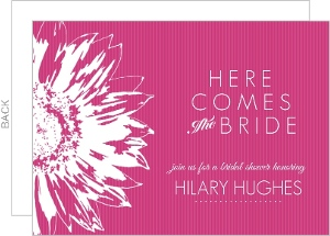 Bright Pink Sunflower Bridal Shower Invitation