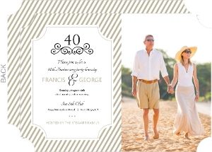 Taupe Elegant Frame 40th Anniversary Invitation