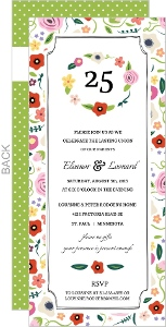 Floral Wreath 25th Wedding Anniversary Invitation