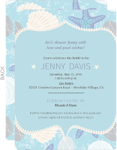 Seashells and Star Fish Bridal Shower Invitation