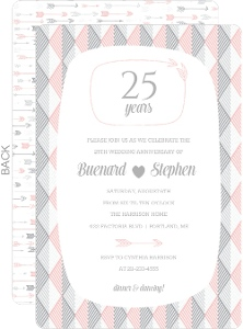 Modern Silver and Rose 25th Wedding Anniversary Invitation