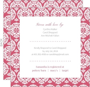 Bold Pattern Rose Bridal Shower Invitation