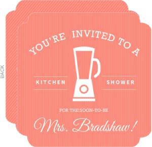 Coral Stripe Kitchen Bridal Shower Invitation