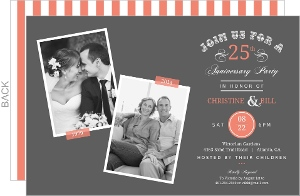 Vintage Typographic Memories 25th Anniversary Invitation