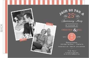 Vintage Typographic Memories 25th Anniversary Invitation