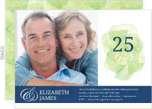 Painted Watercolor 25th Anniversary Invitation
