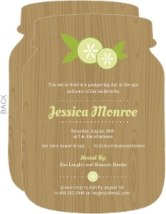 Cucumber Spa Woodgrain Bridal Shower Invitation