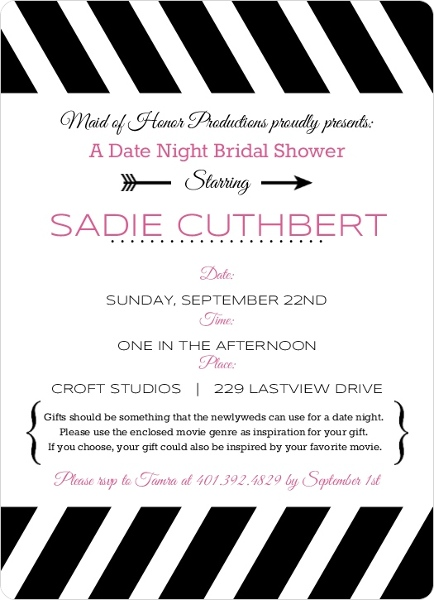 Black and White Date Night Bridal Shower Invitation Invite Shop – Black and White Wedding Shower Invitations