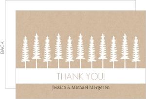 Green Kraft Pine Trees Wedding Thank You Card