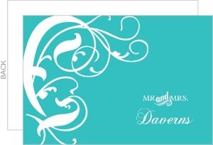 Turquoise Western Swirls Wedding Thank You Card