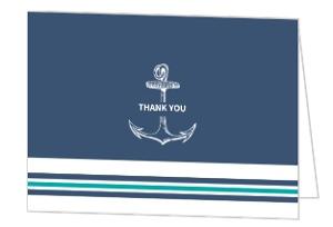 Teal Navy Nautical Anchor Wedding Thank You Card