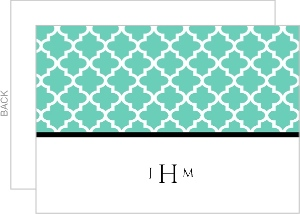 Elegant Turquoise Pattern Wedding Thank You Card