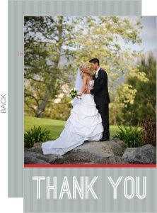 Red and Gray Modern Journey Wedding Thank You Card