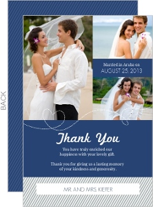 Blue and Gray Stiped Destination Wedding Thank You Card