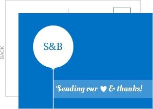 Fun Blue Balloon Wedding Thank You Card