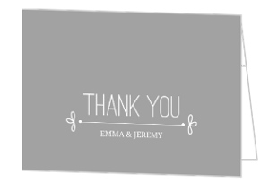 Gray Whimsical Accents Wedding Thank You Card