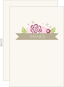 Pink Monogram Flowers Wedding Thank You Card
