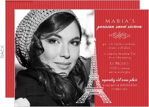 Red Paris Sweet 16 Birthday Invitation