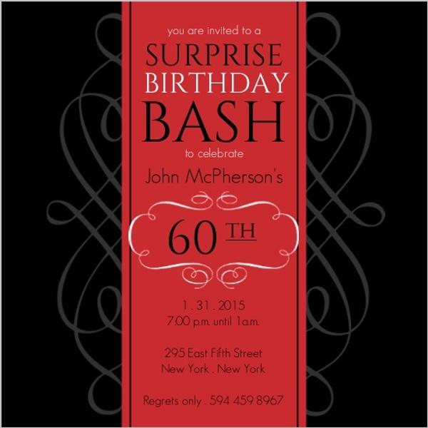 Formal Red Surprise Birthday Soiree Invite | Surprise Birthday ...
