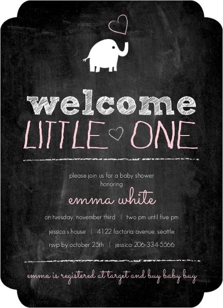 Chalkboard Elephant Girl Baby Shower Invitation - Invite Shop