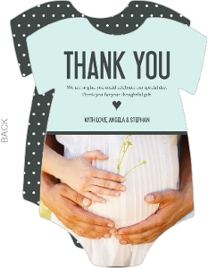 Light Blue Photo Baby Thank You Card