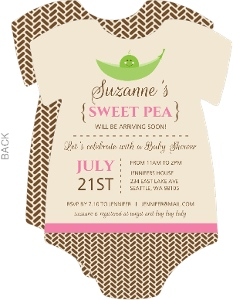 Brown and Pink Sweet Pea Baby Shower Invite