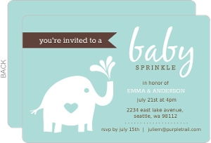 Teal Elephant Baby Sprinkle Invitation