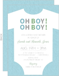 OH BOY! Blue Onesie Baby Shower Invite