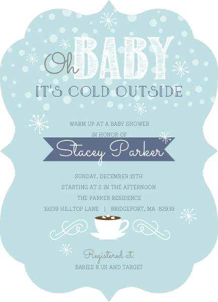 its cold outside winter baby shower invitation | baby shower, Baby shower invitations