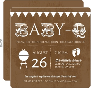 BabyQ Brown and White Baby Shower Invitation