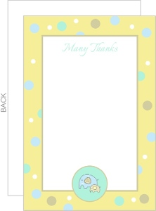 Sweet Yellow Baby Elephant Baby Shower Thank You Card