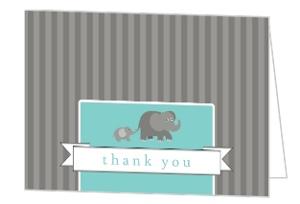 Gray Elephants Baby Thank You Card
