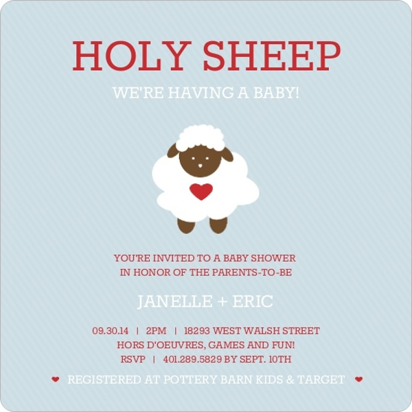 holy sheep blue & red baby shower invite - invite shop, Baby shower invitations