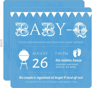 BabyQ Blue and White Shower Invitation