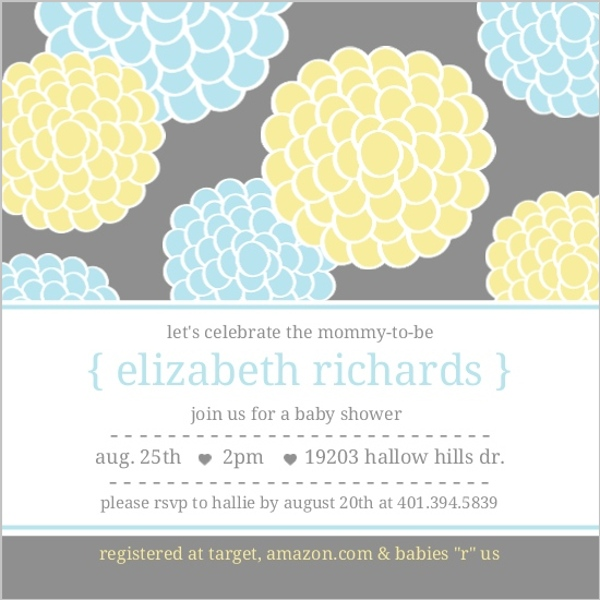 blue and yellow whimsical flowers boy baby shower invitations invite