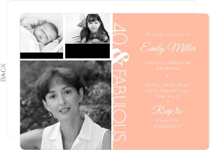 Three Photo Fortieth Party Invitation