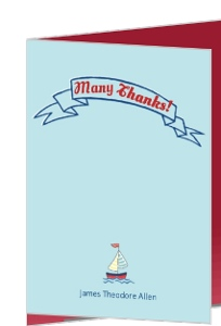 Sailing Boy Baby Thank You Card