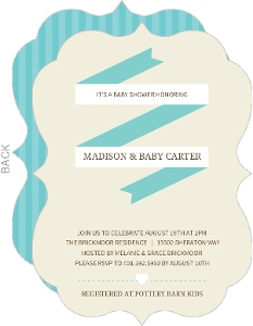Cream and Turquoise Banner Boy Baby Shower Invite