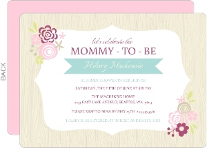 Pink Floral Frame Girls Baby Shower Invite