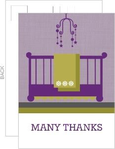 Purple Modern Nursery Baby Shower Thank You Card