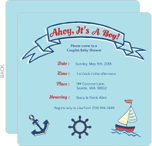 Sailing Boy Baby Shower Invite